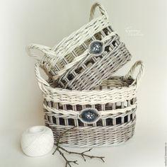 Купить Мартовские корзиночки плетеные (набор из 2 шт.) - белый, корзиночки плетеные, серый