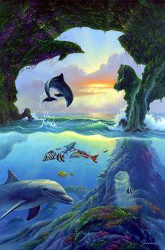 Hoeveel dolfijnen zijn er te zien op deze plaat?