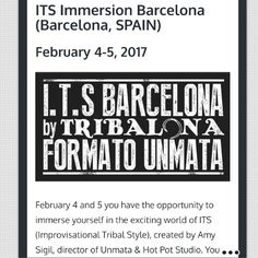 ITS Immersion Barcelona, Spain - February 4-5, 2017 - Upcoming Events #TribalCalendar #ITS #bellydance #Spain