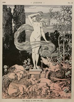 """Jugend (""""Youth"""" in German) was a German art magazine that was created in the late century. It featured many famous Art Nouveau artists and is the source of the term """"Jugendstil"""" (""""Jugend-style""""), the German version of Art Nouveau. Kunst Inspo, Art Inspo, Art And Illustration, Fantasy Kunst, Fantasy Art, Art Nouveau, Grafik Design, Magazine Art, Erotic Art"""