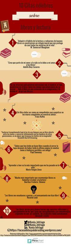 """Infografía """"10 Citas célebres sobre libros y lectura"""". #LaCasaDeLasPalabras"""