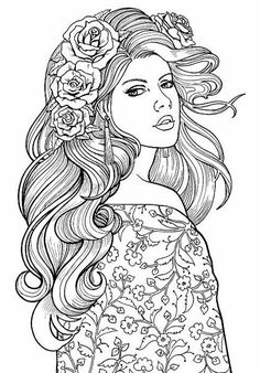 Lovely lady colouring page. Adult coloring page
