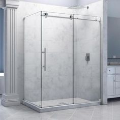DreamLine Enigma-X 56-3/8 to 60-3/8 in. W x 34-1/2 in. D x 76 in. H Frameless Sliding Shower Enclosure in Polished Stainless Steel - SHEN-6134600-08 - The Home Depot