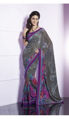 Shop the floral printed georgette saree with broad fancy border.