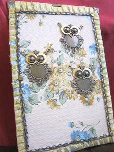 Quadro in bassorilievo tre gufi in filigrana su sfondo in stoffa vintage di Avanzidicraftroom su Etsy