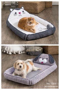 Diy Crochet Cat Bed, Gato Crochet, Free Crochet, Crochet For Dogs, Knitting Patterns Free Dog, Crochet Dog Patterns, Crochet Dog Clothes, Crochet Dog Sweater, Dog Couch