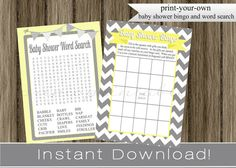 Baby Shower Bingo Game and Word Search Cards by PrimoPrintables, $8.00