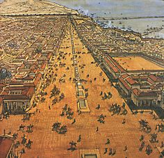 """Depiction of Alexandria about 200 BC.  Carl Sagan said, """"Alexandria was the greatest city the Western world had ever seen. People of all nations came here to live, to trade, to learn. On any given day, its harbors were thronged with merchants, scholars, and tourists. This was a city where Greeks, Egyptians, Arabs, Syrians, Hebrews, Persians, Nubians, Phoenicians, Italians, Gauls, and Iberians exchanged merchandise and ideas.""""  Click on the image for more details."""