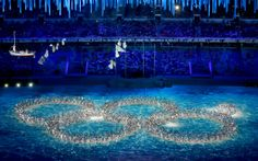 During the closing ceremony, performers form the Olympic rings, including a nod to the technical malfunction that occurred in the opening ceremony. #sochi2014 #olympics #winterolympics