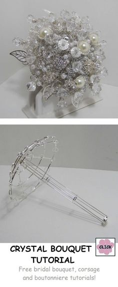 a Crystal Bridal Bouquet - Step by Step Wedding Tutorial with the bouquet armature and all jewels needed to design a gorgeous arrangement Beaded Bouquet, Crystal Bouquet, Wedding Brooch Bouquets, Beaded Flowers, Crystal Brooch, Broschen Bouquets, Purple Bouquets, Bridesmaid Bouquets, Peonies Bouquet