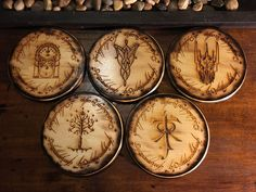 Lord of The Rings Coaster Set of 5,Handmade Wood Burned Laser Etched, LOTR by TheEmberedOak on Etsy https://www.etsy.com/listing/470612673/lord-of-the-rings-coaster-set-of