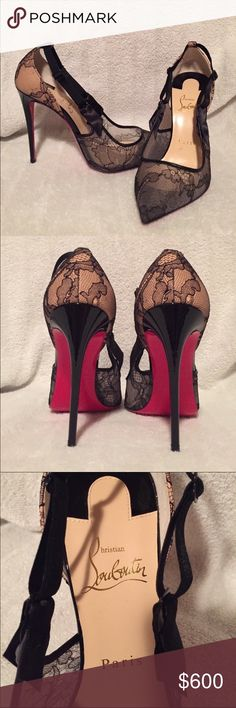 """Christian Louboutin black lace shoes sz 7.5 US ELEGANT and AUTHENTIC Christian Louboutin black lace heels, so BEAUTIFUL.  Size 37.5 Euro/ size 7.5 US per Christian Louboutin size chart on website. Like NEW- never worn. Includes box, bag and replacement heel pieces. the shoe you have always dreamed of owning! Heel is 4"""" tall, currently listed on Christian Louboutin's website but selling out fast!  sold previously but the buyer cancelled with Poshmark. Poshmark did authenticate these before…"""