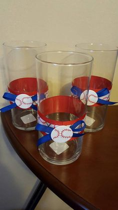 Baseball Centerpiece- Set of 3 Baseball themed vases Centerpieces Birthday party decoration & Creative Centerpiece Ideas - WOW.com - Image Results | Centerpiece ...