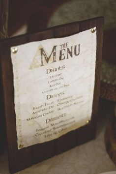 Menu | Legend of Zelda Wedding  There are also instructions and image files for how to make this in one of her other blog posts! <3