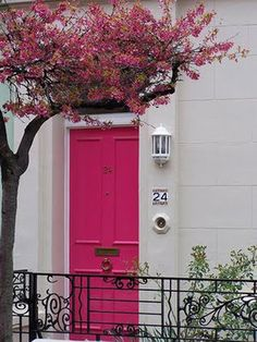 I'm loving this color...too bad my townhome association only accepts dark brown....and this blooming tree...so pretty!