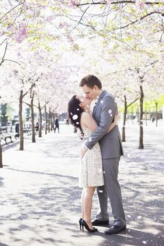 Pre-Wedding Shoot with Cherry Blossoms in Stockholm www.cherriecouttsphotography.com