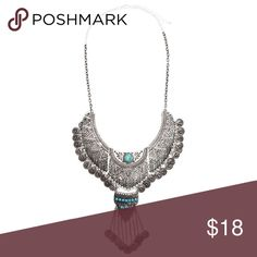 """Coachella Necklace Antique-finish metal with a center stone accent. Adjustable length 18.5""""-21.75"""".  Materials: 90% metal 5% plastic 5% stone.  NWOT Jewelry Necklaces"""