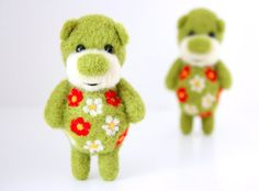 Pocket green ornamented bear by MistrSandman on Etsy