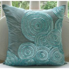 Items similar to Luxury Blue Cushion Covers, Silk Pillow Covers, Square Spiral Sequins And Beaded Pillows Cover, Modern Pillow Covers - Morning Dew on Etsy Blue Cushion Covers, Modern Pillow Covers, Modern Pillows, Throw Pillow Covers, White Decorative Pillows, Silk Pillow, Pillow Shams, Pillow Cases, Blue Cushions