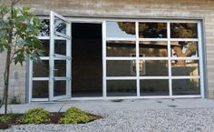 Glass Garage Doors with Passing Door : Full View Anodized Aluminum with Clear Glass