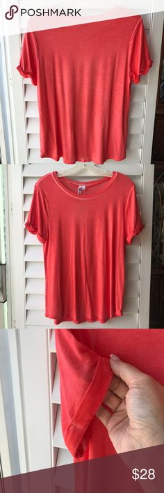 🎉SPECIAL CCO!🎉🍊CABLE & GAUGE Oil-dye Shirt NWT! Oh, yes! A must-have for your Spring and Summer closet! Ok, so orange is my thing! I buy way more than I can wear, so you win! Size M. Oil-dye is so on trend right now -- I see it in all my local boutiques in town!  🌆 Super silky and soft! Wear the heck out of this great piece paired with comfy jeans, green cargos or maybe a cute white denim skirt! Rolled-hem sleeves and beautiful shading and texture to the dye technique.😍 Enjoy! 🍹 Cable…
