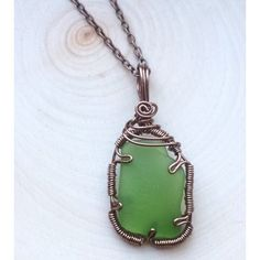 Sea Glass Necklace-Wire Wrapped Sea Glass by MiettesShop on Etsy