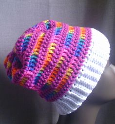 Slouchy Crochet Beanie  Multicolor Slouchy by CreationsbyLaya, $20.00