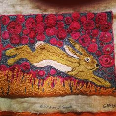 green bunny, I hooked this at Sharon Smith workshop!