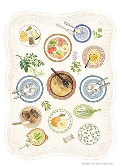 <치즈랑 소금이랑 콩이랑> 이라는 책작업을 하면서 그린 테이블작업 입니다  http://blog.naver.com/pencil747