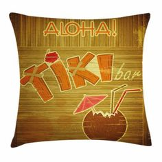 East Urban Home Ambesonne Tiki Bar Throw Pillow Cushion Cover, Wooden Planks On Wall With Styled Tiki Bar Text Cocktail Hibiscus Aloha, Decorative Squ Wooden Planks On Wall, Hibiscus, Tiki Bar Decor, Tiki Bars, Cocktail, Decorative Cushions, Velvet Pillows, Throw Pillow Sets, Outdoor Throw Pillows