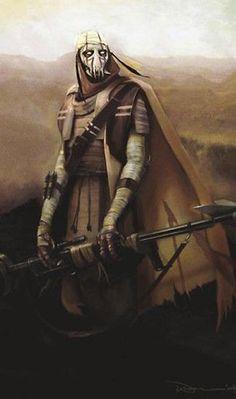 General Grievous foi originalmente um guerreiro de seu planeta nativo Kalee. Grievous usava uma máscara desse tipo em uma batalha contra os odiados Huks, uma espécie vizinha. Ele já havia passado por incontáveis batalhas enquanto espalhava a destruição nos inimigos dos Kaleesh.