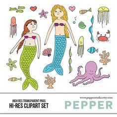 INSTANT DOWNLOAD   Mermaids Doodle Clipart Set  Hi by PepperStudio