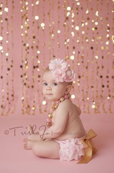 Pink and Gold Lace Bloomer Set Diaper Cover by AvaMadisonBoutique