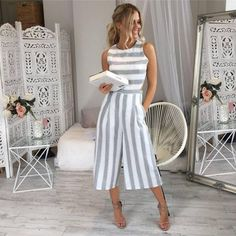 fashion whole woman summer Sleeveless Striped Jumpsuit Casual Wide Leg Pants Outfit combinaison femme 2018 body feminino Fashion Mode, Fashion Outfits, Latest Fashion, Fashion Clothes, Fashion Trends, Fashion Styles, Style Fashion, Fashion Spring, Cheap Fashion