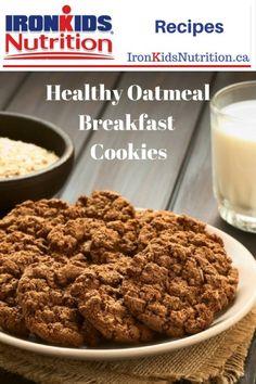 Cookies for Breakfast - Healthy Oatmeal Breakfast Cookies - Ironkids Nutrition Healthy Breakfast For Kids, Healthy Kids, Breakfast Ideas, School Snacks For Kids, Healthy School Snacks, Oatmeal Breakfast Cookies, Nut Free, Nutrition, Recipes