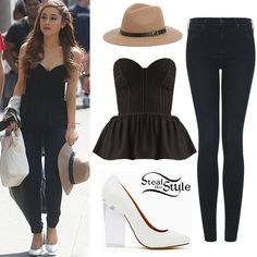 Ariana Grande and Jones Crow in New York City: lace Top $118.80, Moto Indigo Rinse Leigh Jeans from Topshop $76, Urban Outfitters Staring At Stars Scout Panama Hat $39, minx pumps from Nasty Gal $88.
