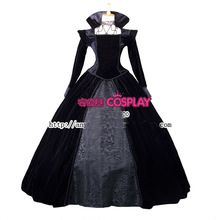 lujo venecia carnaval vestido negro reina malvada érase una vez Regina Medieval Renacimiento vestido de reina vestido victoriano Belle(China (Mainland))