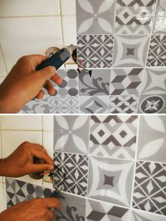 False Tile & True Test: Our Opinion on Smart Tiles Adhesive Credenza - Bathroom 02 Smart Tiles, Home Decor Kitchen, Diy Home Decor, Painted Bathroom Floors, Credence Adhesive, Kitchen Organisation, Tile Decals, Adhesive Tiles, Folding Doors