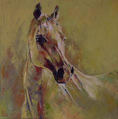 "M Mikolajczak ""Arab Horse Portrait"" 20''x20'' Signed Original Oil Painting 