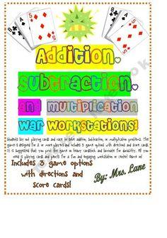 Addition/Subtraction/Multiplication War (Great Center/Workstation!)