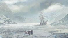 ArtStation - The long walk, Col Price Assassins Creed Rogue, Boat Illustration, Castle Painting, Final Fantasy Characters, Sailboat Painting, Ghost Ship, Fantasy City, Fantasy Setting, Tree Wallpaper