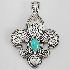 Fleur De LIs Magnetic Pendant - Available in Choice of Red or Turquoise Stone Buckaroo Bay Cowgirl Jewelry & Western Accessories