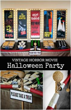 Vintage Horror Movie Halloween Party Ideas www.spaceshipsandlaserbeams.com