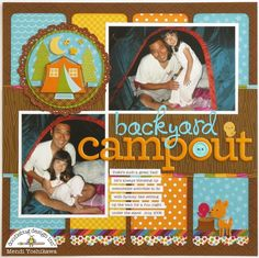 A Doodlebug Happy Camper Layout by Mendi Yoshikawa - Scrapbook.com - Create adorable little scenes to embellish layouts using Doodlebug Design products.