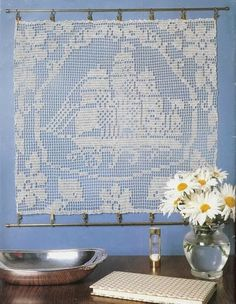 """""""Sailing ship panel"""" crochet curtain, filet work ♥LCC-MRS♥ with diagram"""