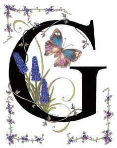 My series of initals for all the letters of the Alphabet. Each flower and butterfly name starts with the letter of the alphabet. G is for Grape Hyacinth, although the correct name for this beautiful little spring flower is Muscari which means Musty Smell. The butterfly is a Genoveva Azure.