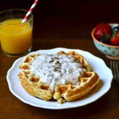 Waffle Biscuits and Gravy! Bake your biscuits in the waffle maker for a fun twist on an old favorite!