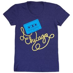 Womens Chicago Cassette Tape Fitted T-Shirt Music Dj Mixtape Illinois... ($10) ❤ liked on Polyvore featuring tops, t-shirts, grey, women's clothing, fitted tee-shirt, gray shirt, 80s shirt, grey shirt and vintage t shirts