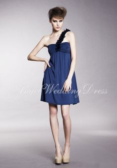 One Shoulder Chiffon Princess Empire Sleeveless Short Length Bridesmaid  Dress c0817750dfe6
