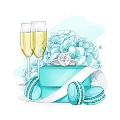 Вечеринка Тиффани, Тиффани Синий, Свадебная Иллюстрация, Иллюстрации Арт, Иллюстрации Парижа, Упаковка Подарка, Акварельная Мода, Модные Рисунки